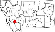 Montana Map showing Silver Bow County