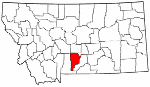 Montana Map showing Sweet Grass County