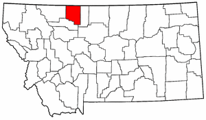 Montana Map showing Toole County