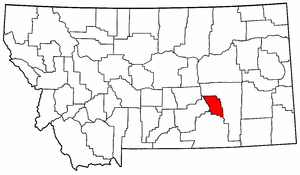 Montana Map showing Treasure County