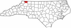 North Carolina Map showing Alleghany County