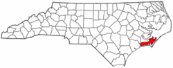 North Carolina Map showing Carteret County