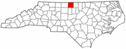 North Carolina Map showing Caswell County