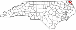 North Carolina Map showing Currituck County