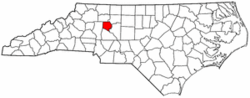 North Carolina Map showing Davie County