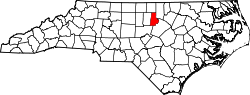 North Carolina Map showing Durham County
