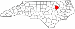 North Carolina Map showing Edgecombe County