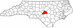 North Carolina Map showing Harnett County