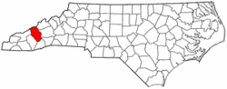 North Carolina Map showing Haywood County