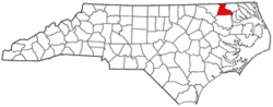 North Carolina Map showing Hertford County