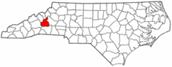 North Carolina Map showing McDowell County