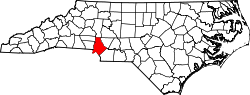 North Carolina Map showing Mecklenburg County