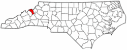 North Carolina Map showing Mitchell County