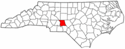 North Carolina Map showing Montgomery County