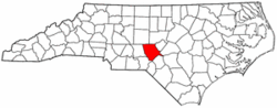 North Carolina Map showing Moore County