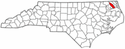 North Carolina Map showing Pasquotank County