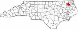 North Carolina Map showing Perquimans County