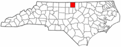 North Carolina Map showing Person County