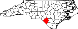 North Carolina Map showing Robeson County