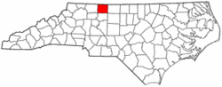 North Carolina Map showing Stokes County