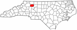 North Carolina Map showing Yadkin County