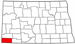 North Dakota Map showing Bowman County