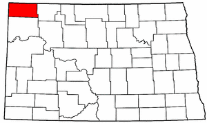 North Dakota Map showing Divide County