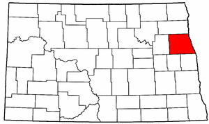North Dakota Map showing Grand Forks County