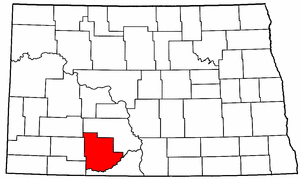 North Dakota Map showing Grant County