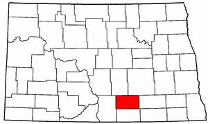 North Dakota Map showing Logan County
