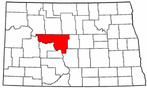 North Dakota Map showing McLean County