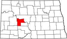North Dakota Map showing Mercer County