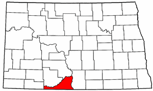 North Dakota Map showing Sioux County