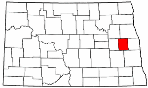 North Dakota Map showing Steele County