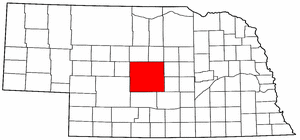 Nebraska Map showing Custer County