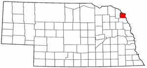 Nebraska Map showing Dakota County