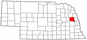 Nebraska Map showing Dodge County