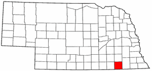 Nebraska Map showing Jefferson County