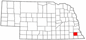 Nebraska Map showing Johnson County