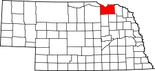 Nebraska Map showing Knox County