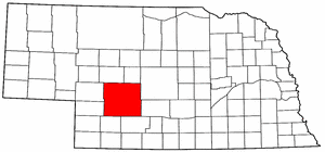 Nebraska Map showing Lincoln County