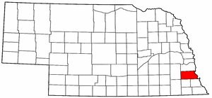 Nebraska Map showing Otoe County