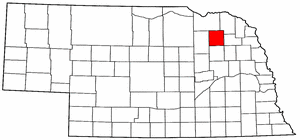 Nebraska Map showing Pierce County