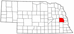 Nebraska Map showing Saunders County