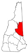New Hampshire Map showing Carroll County