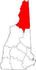 New Hampshire Map showing Coos County