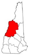New Hampshire Map showing Grafton County