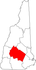 New Hampshire Map showing Merrimack County