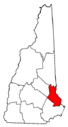New Hampshire Map showing Strafford County