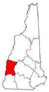 New Hampshire Map showing Sullivan County